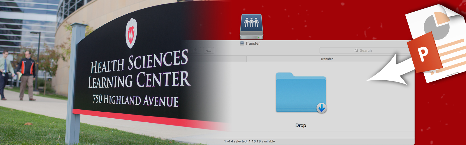 Hero image for 'File Transfer':File on desktop being uploaded to server, also showing entrance to physical office.